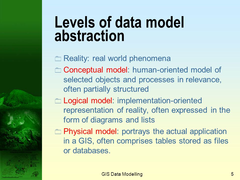 GIS Data Modelling4 The role of a data model in GIS People Interpretation and Explanation Operational GIS Analysis and Presentation GIS Data Model Des