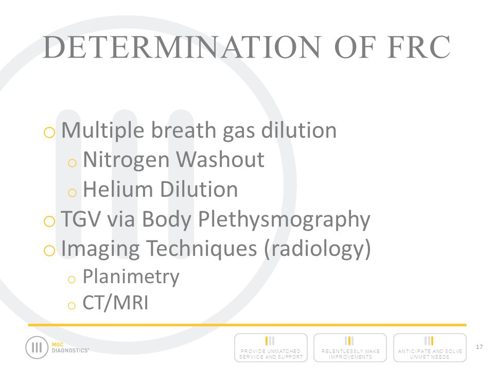 ANTICIPATE AND SOLVE UNMET NEEDS RELENTLESSLY MAKE IMPROVEMENTS PROVIDE UNMATCHED SERVICE AND SUPPORT 17 DETERMINATION OF FRC o Multiple breath gas dilution o Nitrogen Washout o Helium Dilution o TGV via Body Plethysmography o Imaging Techniques (radiology) o Planimetry o CT/MRI