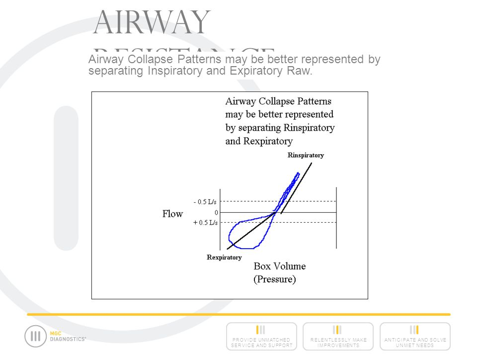 ANTICIPATE AND SOLVE UNMET NEEDS RELENTLESSLY MAKE IMPROVEMENTS PROVIDE UNMATCHED SERVICE AND SUPPORT Airway Resistance Airway Collapse Patterns may be better represented by separating Inspiratory and Expiratory Raw.