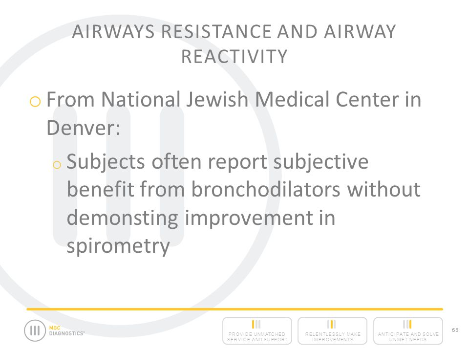 ANTICIPATE AND SOLVE UNMET NEEDS RELENTLESSLY MAKE IMPROVEMENTS PROVIDE UNMATCHED SERVICE AND SUPPORT 63 AIRWAYS RESISTANCE AND AIRWAY REACTIVITY o From National Jewish Medical Center in Denver: o Subjects often report subjective benefit from bronchodilators without demonsting improvement in spirometry