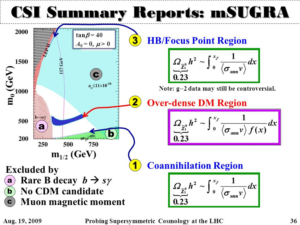 CSI Summary Reports: mSUGRA tan  = 40 A 0 = 0,  > 0 a b c Excluded by 1)Rare B decay b  s  2)No CDM candidate 3)Muon magnetic moment a b c m 0 (GeV) m 1/2 (GeV) Over-dense DM Region Coannihilation Region HB/Focus Point Region Note: g  2 data may still be controversial.
