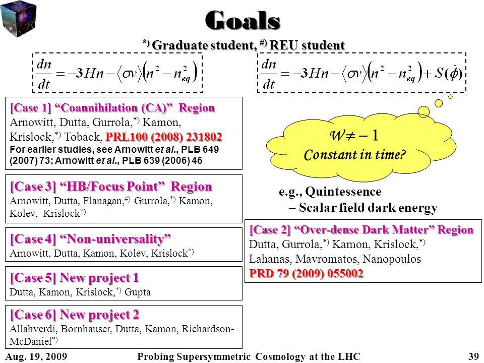 Goals [Case 1] Coannihilation (CA) Region Arnowitt, Dutta, Gurrola, *) Kamon, PRL100 (2008) 231802 Krislock, *) Toback, PRL100 (2008) 231802 For earlier studies, see Arnowitt et al., PLB 649 (2007) 73; Arnowitt et al., PLB 639 (2006) 46 [Case 2] Over-dense Dark Matter Region Dutta, Gurrola, *) Kamon, Krislock, *) Lahanas, Mavromatos, Nanopoulos PRD 79 (2009) 055002 [Case 3] HB/Focus Point Region Arnowitt, Dutta, Flanagan, #) Gurrola, *) Kamon, Kolev, Krislock *) [Case 4] Non-universality Arnowitt, Dutta, Kamon, Kolev, Krislock *) [Case 5] New project 1 Dutta, Kamon, Krislock, *) Gupta *) Graduate student, #) REU student W   Constant in time.