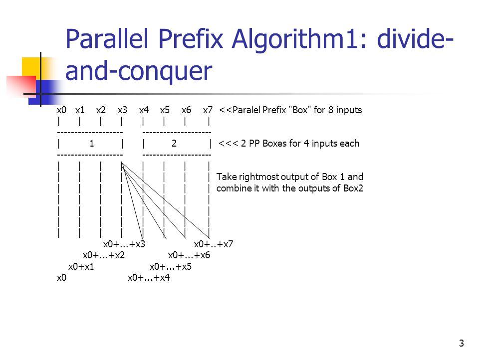 4 Parallel Prefix Algorithm 2: An algorithm for parallel prefix on an EREW PRAM would require lg n phases.