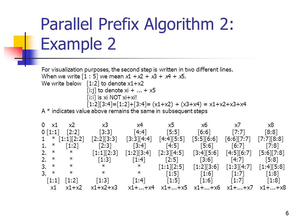 7 Parallel Prefix Algorithm 2: // We write below[1:2] to denote X[1]+X[2] // [i:j] to denote X[i]+X[i+1]+...+X[j] // [i:i] is X[i] NOT X[i]+X[i] // [1:2][3:4]=[1:2]+[3:4]= (X[1]+X[2])+(X[3]+X[4])=X[1]+X[2]+X[3]+X[4] // Input : M[j]= X[j]=[j:j] for j=1,...,n.
