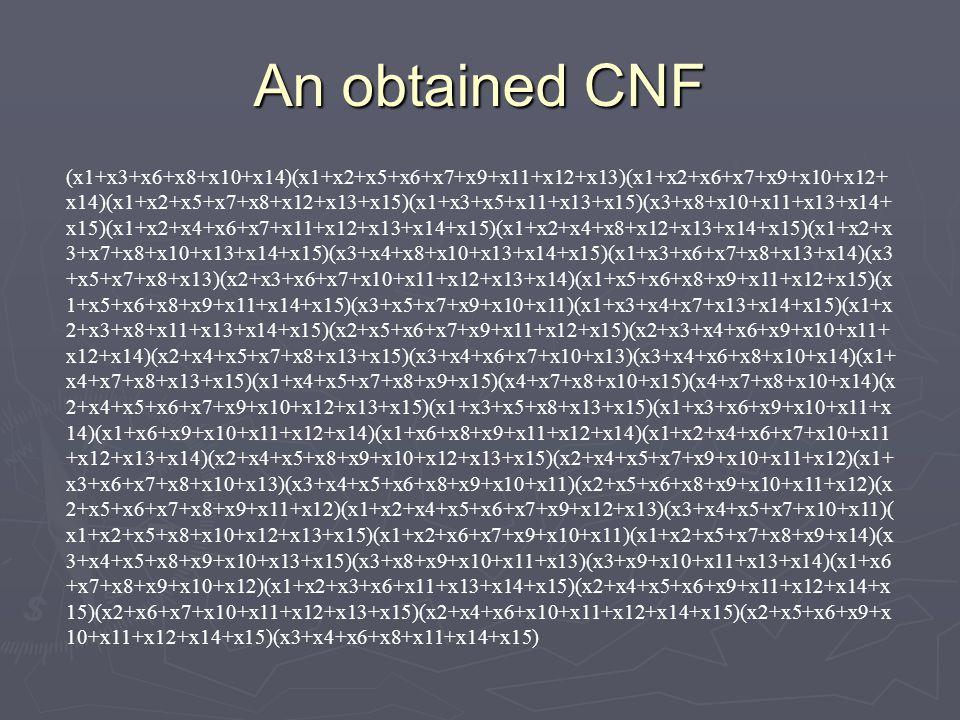 An obtained CNF (x1+x3+x6+x8+x10+x14)(x1+x2+x5+x6+x7+x9+x11+x12+x13)(x1+x2+x6+x7+x9+x10+x12+ x14)(x1+x2+x5+x7+x8+x12+x13+x15)(x1+x3+x5+x11+x13+x15)(x3+x8+x10+x11+x13+x14+ x15)(x1+x2+x4+x6+x7+x11+x12+x13+x14+x15)(x1+x2+x4+x8+x12+x13+x14+x15)(x1+x2+x 3+x7+x8+x10+x13+x14+x15)(x3+x4+x8+x10+x13+x14+x15)(x1+x3+x6+x7+x8+x13+x14)(x3 +x5+x7+x8+x13)(x2+x3+x6+x7+x10+x11+x12+x13+x14)(x1+x5+x6+x8+x9+x11+x12+x15)(x 1+x5+x6+x8+x9+x11+x14+x15)(x3+x5+x7+x9+x10+x11)(x1+x3+x4+x7+x13+x14+x15)(x1+x 2+x3+x8+x11+x13+x14+x15)(x2+x5+x6+x7+x9+x11+x12+x15)(x2+x3+x4+x6+x9+x10+x11+ x12+x14)(x2+x4+x5+x7+x8+x13+x15)(x3+x4+x6+x7+x10+x13)(x3+x4+x6+x8+x10+x14)(x1+ x4+x7+x8+x13+x15)(x1+x4+x5+x7+x8+x9+x15)(x4+x7+x8+x10+x15)(x4+x7+x8+x10+x14)(x 2+x4+x5+x6+x7+x9+x10+x12+x13+x15)(x1+x3+x5+x8+x13+x15)(x1+x3+x6+x9+x10+x11+x 14)(x1+x6+x9+x10+x11+x12+x14)(x1+x6+x8+x9+x11+x12+x14)(x1+x2+x4+x6+x7+x10+x11 +x12+x13+x14)(x2+x4+x5+x8+x9+x10+x12+x13+x15)(x2+x4+x5+x7+x9+x10+x11+x12)(x1+ x3+x6+x7+x8+x10+x13)(x3+x4+x5+x6+x8+x9+x10+x11)(x2+x5+x6+x8+x9+x10+x11+x12)(x 2+x5+x6+x7+x8+x9+x11+x12)(x1+x2+x4+x5+x6+x7+x9+x12+x13)(x3+x4+x5+x7+x10+x11)( x1+x2+x5+x8+x10+x12+x13+x15)(x1+x2+x6+x7+x9+x10+x11)(x1+x2+x5+x7+x8+x9+x14)(x 3+x4+x5+x8+x9+x10+x13+x15)(x3+x8+x9+x10+x11+x13)(x3+x9+x10+x11+x13+x14)(x1+x6 +x7+x8+x9+x10+x12)(x1+x2+x3+x6+x11+x13+x14+x15)(x2+x4+x5+x6+x9+x11+x12+x14+x 15)(x2+x6+x7+x10+x11+x12+x13+x15)(x2+x4+x6+x10+x11+x12+x14+x15)(x2+x5+x6+x9+x 10+x11+x12+x14+x15)(x3+x4+x6+x8+x11+x14+x15)