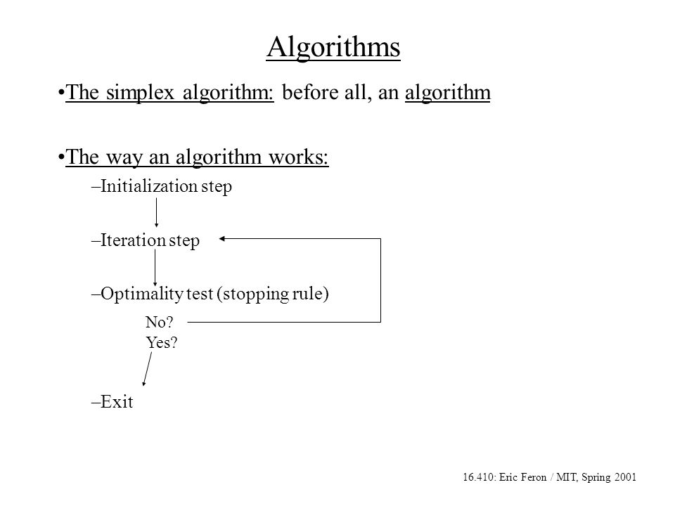 16.410: Eric Feron / MIT, Spring 2001 Algorithms The simplex algorithm: before all, an algorithm The way an algorithm works: –Initialization step –Iteration step –Optimality test (stopping rule) –Exit No.