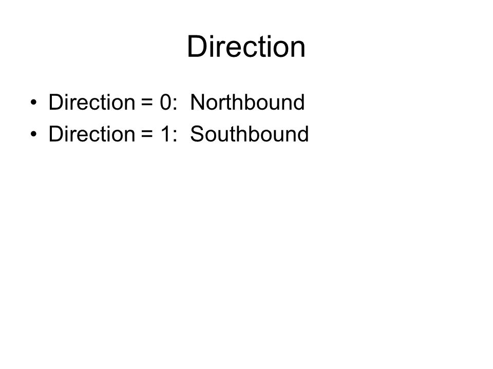 Direction Direction = 0: Northbound Direction = 1: Southbound