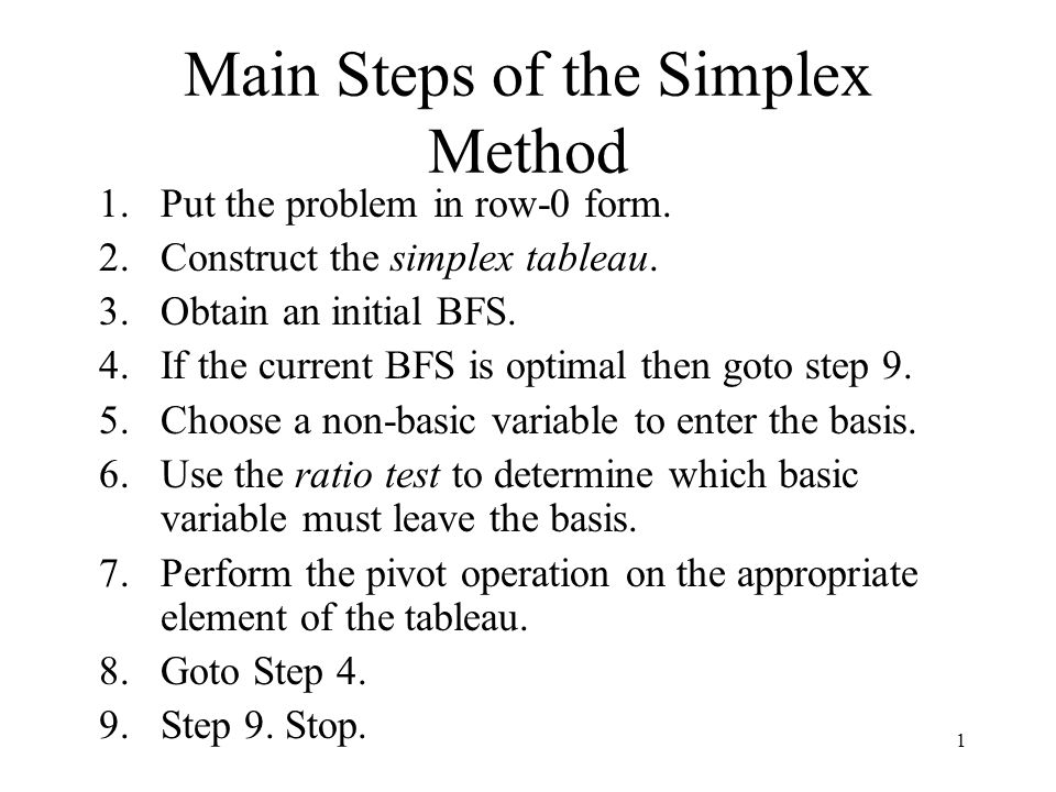 1 Main Steps of the Simplex Method 1.Put the problem in row-0 form.