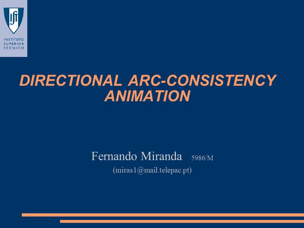 DIRECTIONAL ARC-CONSISTENCY ANIMATION Fernando Miranda 5986/M (miras1@mail.telepac.pt)