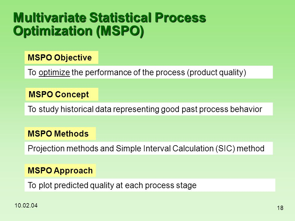 10.02.04 18 Multivariate Statistical Process Optimization (MSPO) MSPO Objective To optimize the performance of the process (product quality) MSPO Meth
