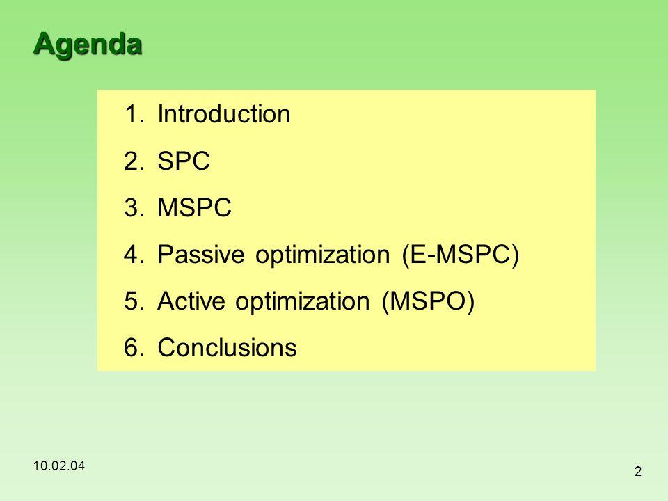 10.02.04 2 Agenda 1.Introduction 2.SPC 3.MSPC 4.Passive optimization (E-MSPC) 5.Active optimization (MSPO) 6.Conclusions