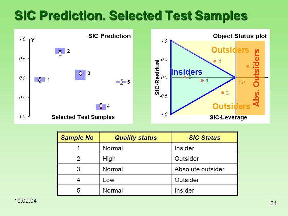 10.02.04 24 SIC Prediction. Selected Test Samples Sample NoQuality statusSIC Status 1NormalInsider 2HighOutsider 3NormalAbsolute outsider 4LowOutsider