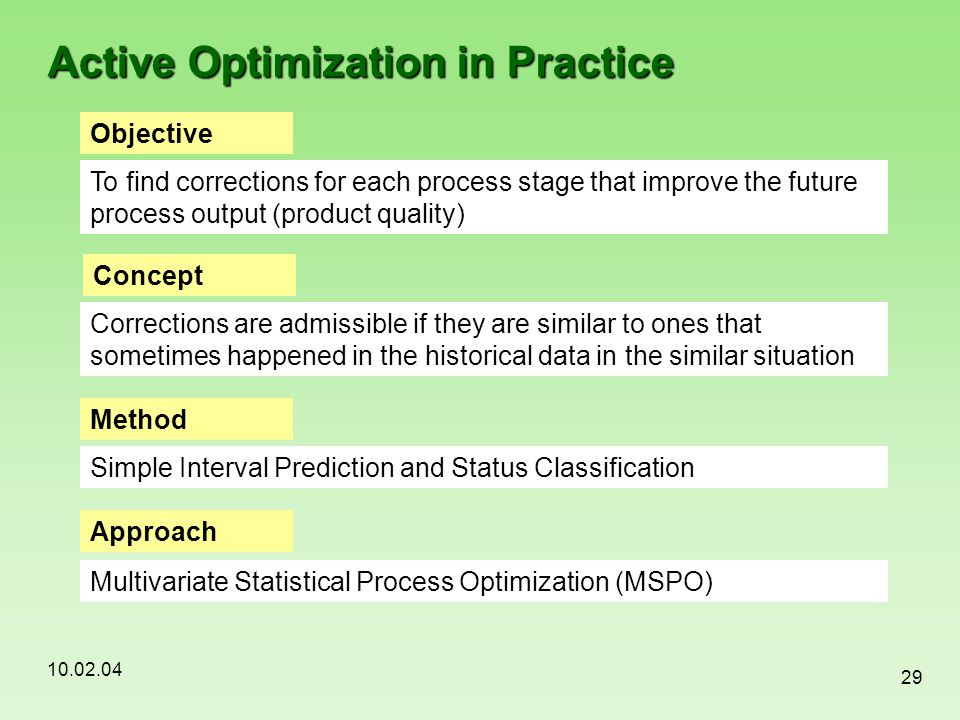 10.02.04 29 Active Optimization in Practice Objective To find corrections for each process stage that improve the future process output (product quali