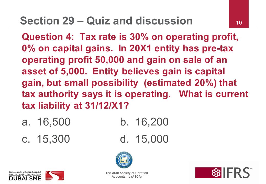 The Arab Society of Certified Accountants (ASCA) 10 Section 29 – Quiz and discussion Question 4: Tax rate is 30% on operating profit, 0% on capital ga