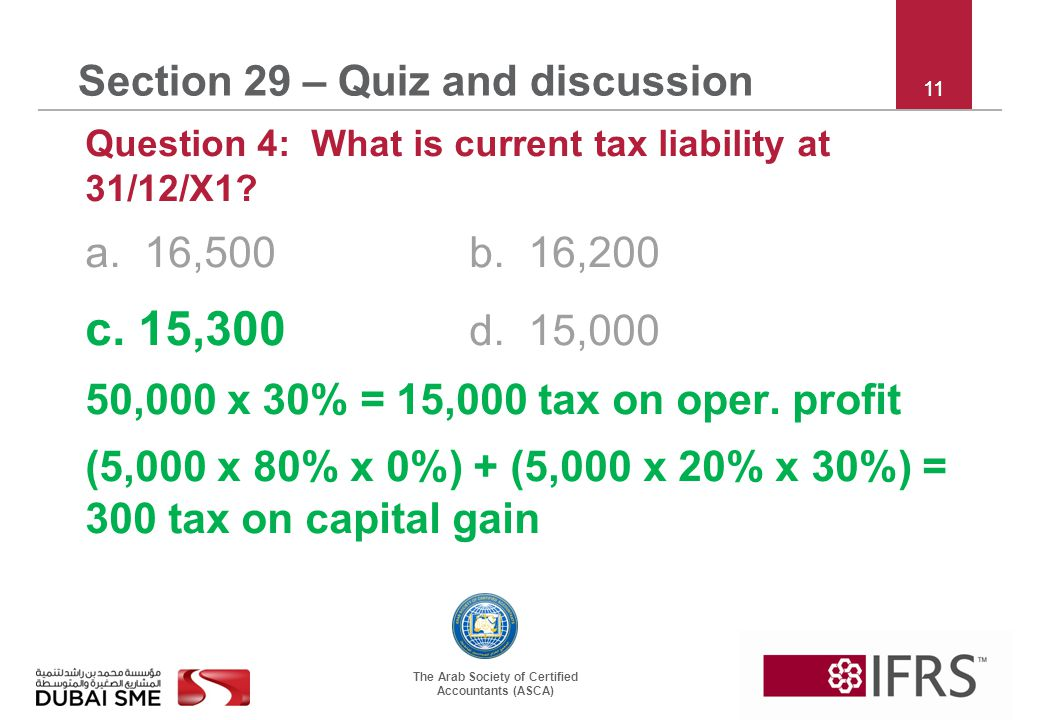The Arab Society of Certified Accountants (ASCA) 11 Section 29 – Quiz and discussion Question 4: What is current tax liability at 31/12/X1.
