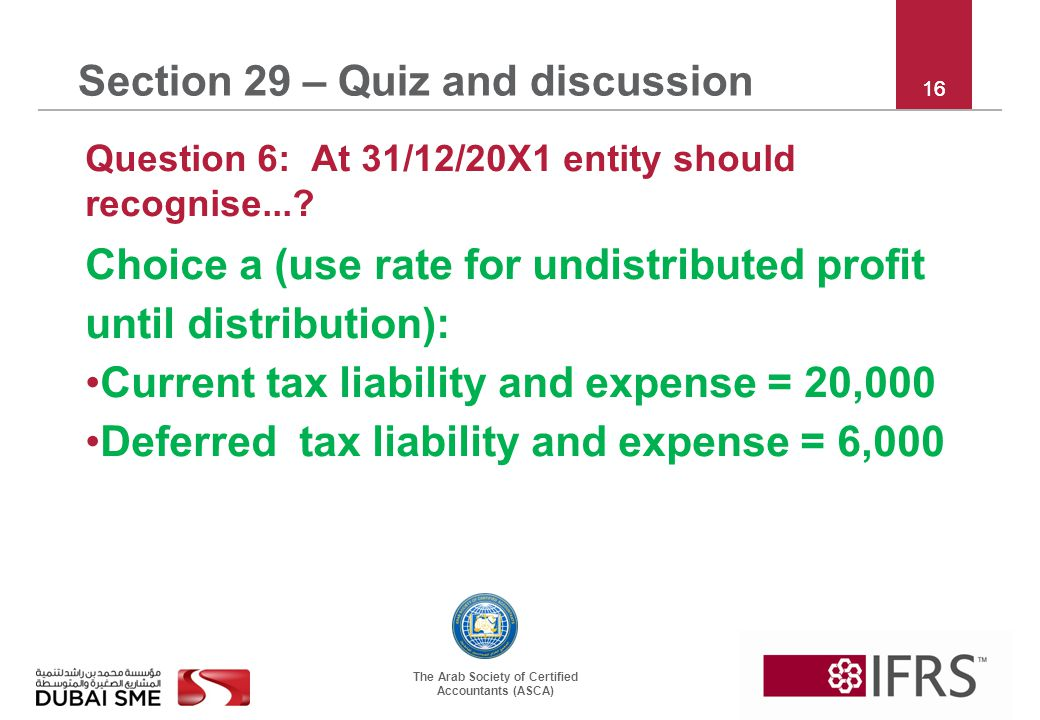 The Arab Society of Certified Accountants (ASCA) 16 Section 29 – Quiz and discussion Question 6: At 31/12/20X1 entity should recognise...? Choice a (u