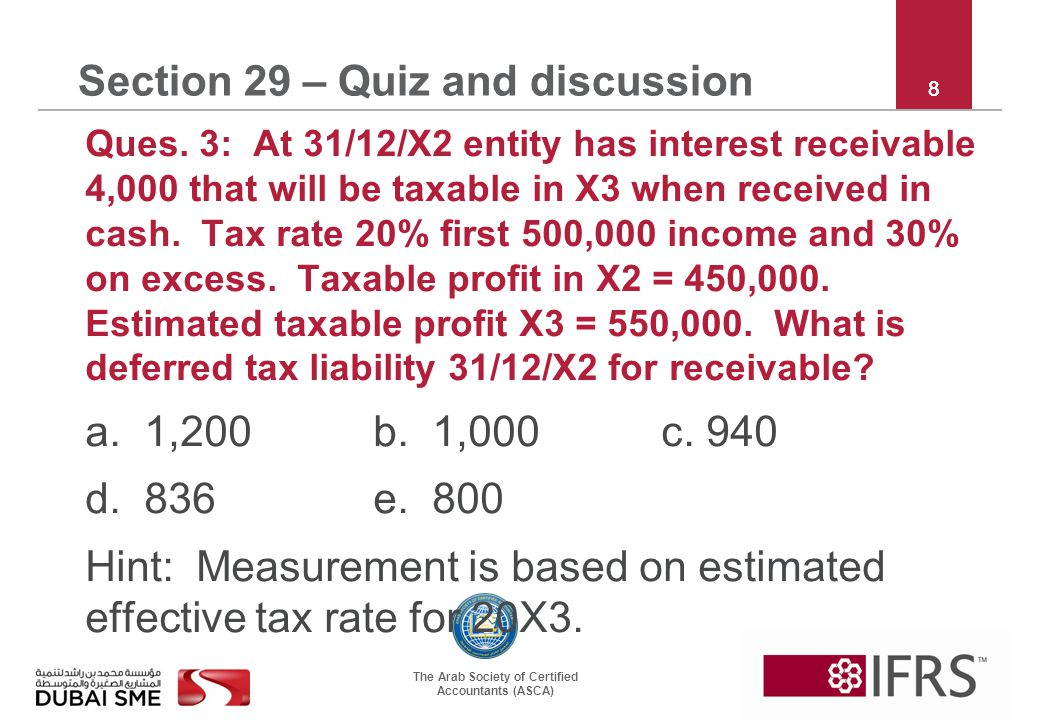 The Arab Society of Certified Accountants (ASCA) 8 Section 29 – Quiz and discussion Ques.