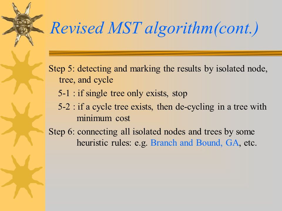 Revised MST algorithm(cont.) Step 5: detecting and marking the results by isolated node, tree, and cycle 5-1 : if single tree only exists, stop 5-2 :