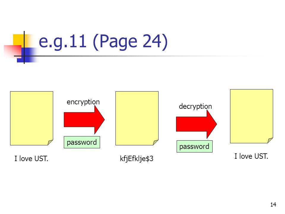 14 e.g.11 (Page 24) I love UST. kfjEfklje$3I love UST. encryption decryption password