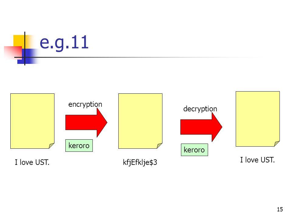 15 e.g.11 I love UST. kfjEfklje$3I love UST. encryption decryption keroro