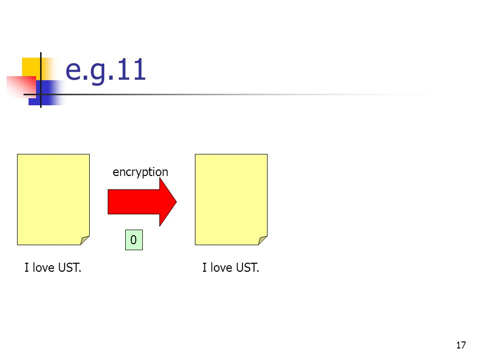 17 e.g.11 I love UST. encryption 0
