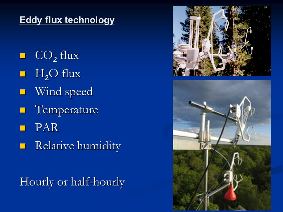 CO 2 flux CO 2 flux H 2 O flux H 2 O flux Wind speed Wind speed Temperature Temperature PAR PAR Relative humidity Relative humidity Hourly or half-hourly Eddy flux technology
