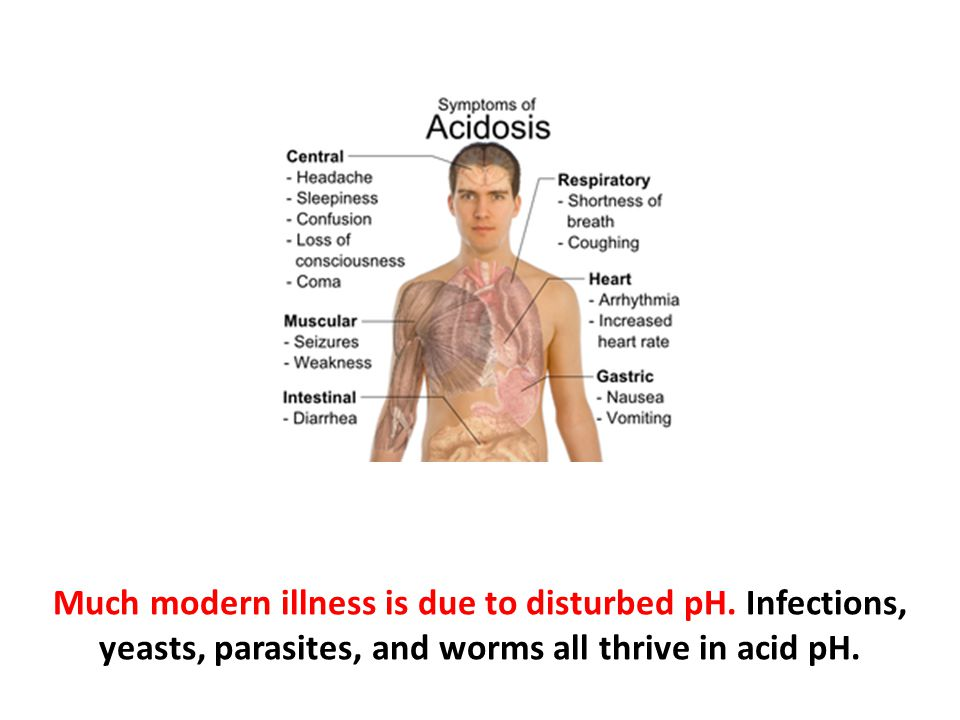 Much modern illness is due to disturbed pH. Infections, yeasts, parasites, and worms all thrive in acid pH.