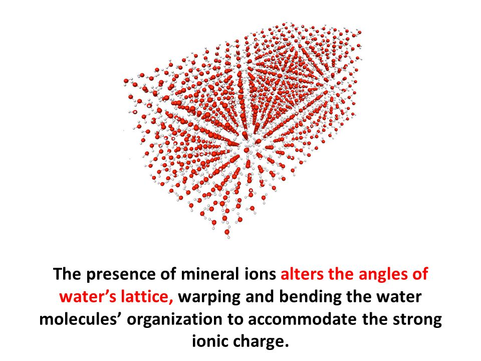 The presence of mineral ions alters the angles of water's lattice, warping and bending the water molecules' organization to accommodate the strong ion
