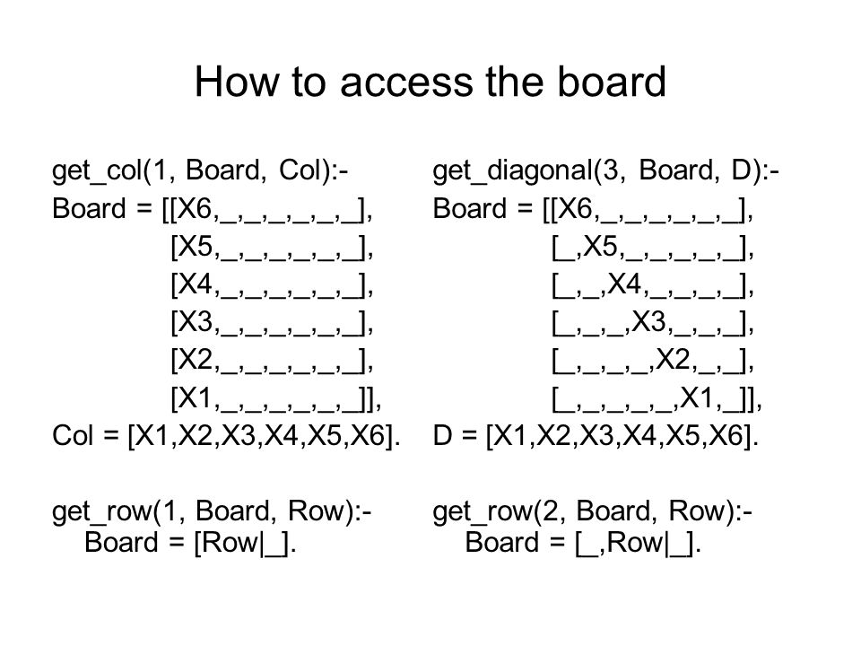 How to access the board get_col(1, Board, Col):- Board = [[X6,_,_,_,_,_,_], [X5,_,_,_,_,_,_], [X4,_,_,_,_,_,_], [X3,_,_,_,_,_,_], [X2,_,_,_,_,_,_], [X1,_,_,_,_,_,_]], Col = [X1,X2,X3,X4,X5,X6].