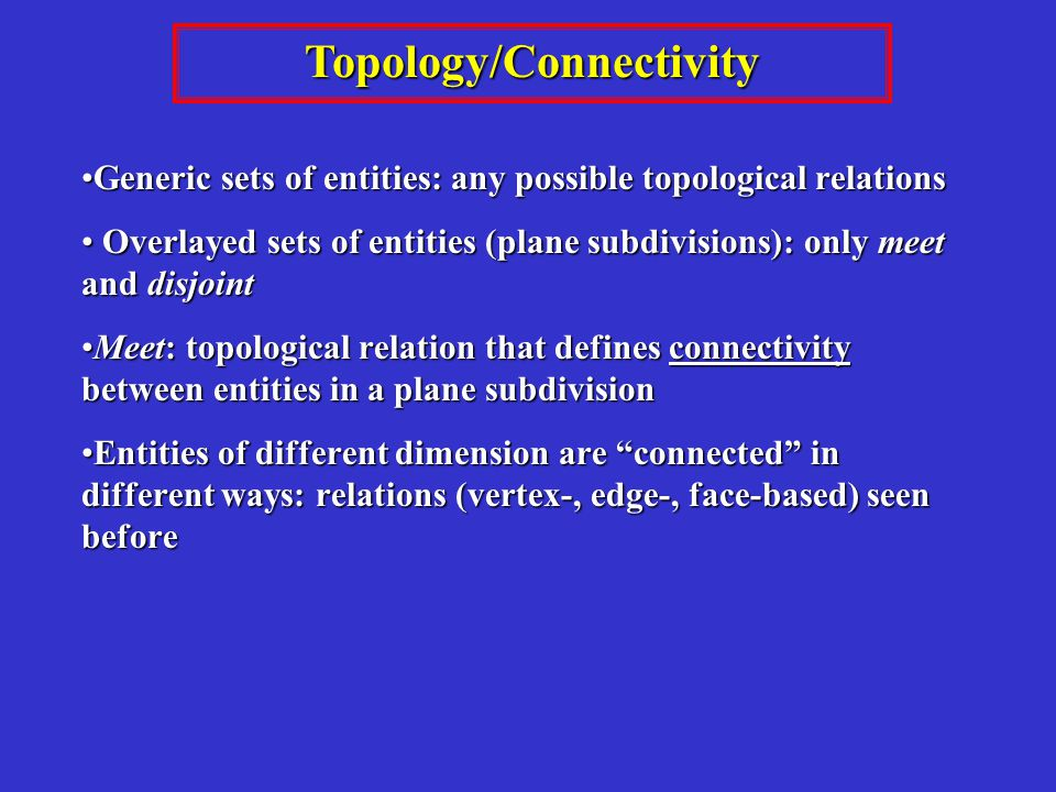 Topology/Connectivity Generic sets of entities: any possible topological relationsGeneric sets of entities: any possible topological relations Overlayed sets of entities (plane subdivisions): only meet and disjoint Overlayed sets of entities (plane subdivisions): only meet and disjoint Meet: topological relation that defines connectivity between entities in a plane subdivisionMeet: topological relation that defines connectivity between entities in a plane subdivision Entities of different dimension are connected in different ways: relations (vertex-, edge-, face-based) seen beforeEntities of different dimension are connected in different ways: relations (vertex-, edge-, face-based) seen before
