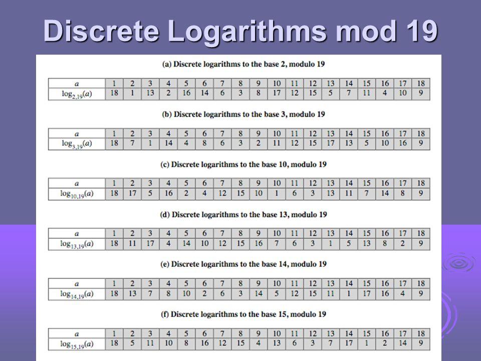 Discrete Logarithms mod 19