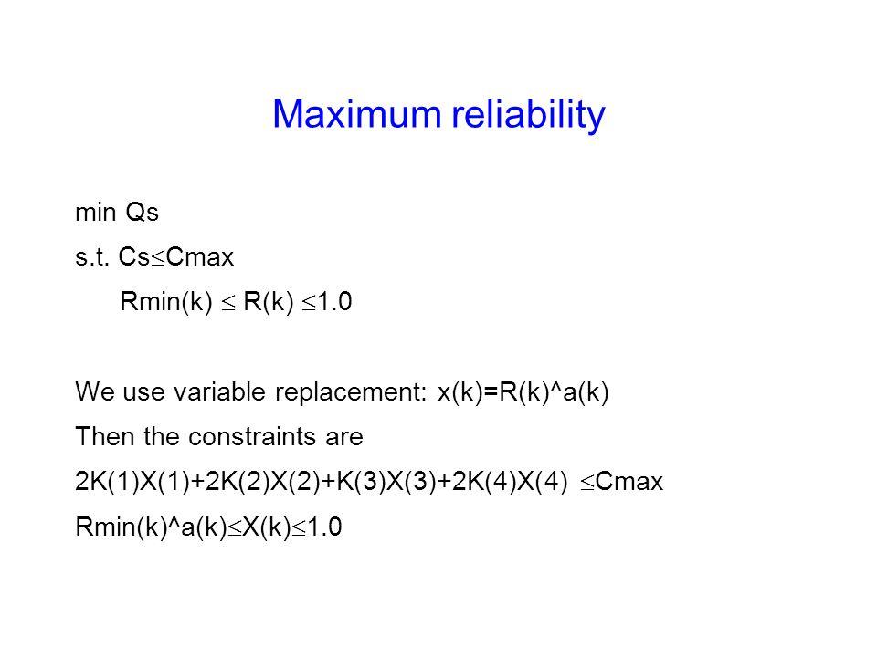 Maximum reliability min Qs s.t. Cs  Cmax Rmin(k)  R(k)  1.0 We use variable replacement: x(k)=R(k)^a(k) Then the constraints are 2K(1)X(1)+2K(2)X(2