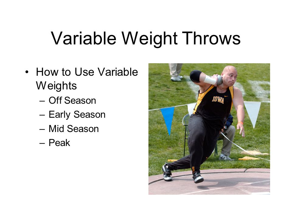 Variable Weight Throws How to Use Variable Weights –Off Season –Early Season –Mid Season –Peak