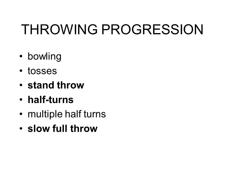 THROWING PROGRESSION bowling tosses stand throw half-turns multiple half turns slow full throw