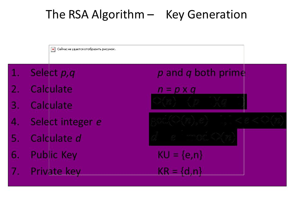 The RSA Algorithm – Key Generation 1.Select p,q p and q both prime 2.Calculate n = p x q 3.Calculate 4.Select integer e 5.Calculate d 6.Public KeyKU =