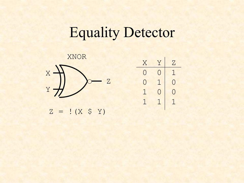 DECLARATIONS Input Pins X5..X0 PIN ISTYPE com ; X = [X5..X0]; 6-bit input Output Pins Y3..Y0 PIN ISTYPE com ; Y = [Y3..Y0]; 4-bit output Definitions A = [X5,!X5,!X5,!X5]; B = [X3,X2,X1,X0]; c0 = !(X3 $ X4); c1 = !(X4 $ X5); s = c0 & c1; EQUATIONS Y = !s & A # s & B; END X0 X1 X2 X3 X4 X5 c0 c1 Y0 Y1 Y2 Y3 A B