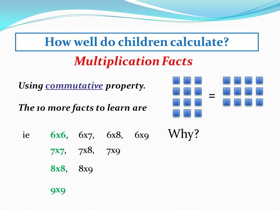 Multiplication Facts Using commutative property.