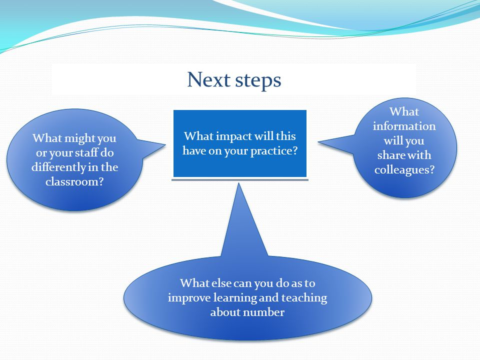 Next steps What information will you share with colleagues.