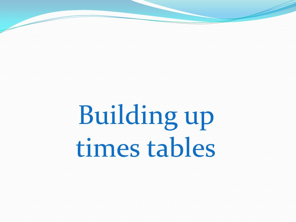 Building up times tables