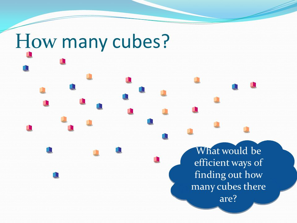 How many cubes What would be efficient ways of finding out how many cubes there are
