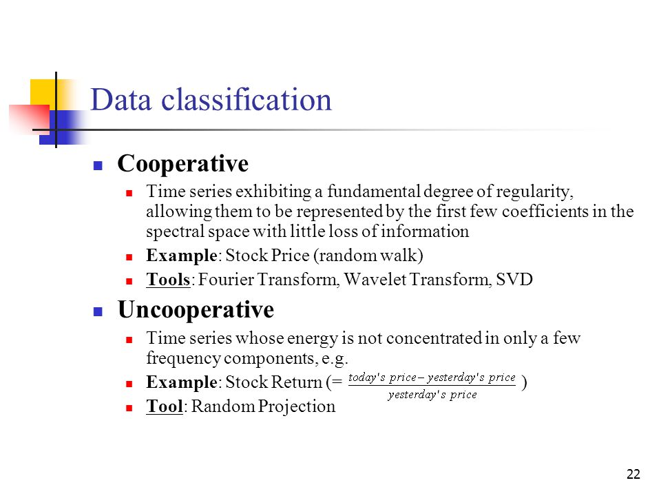 22 Data classification Cooperative Time series exhibiting a fundamental degree of regularity, allowing them to be represented by the first few coeffic