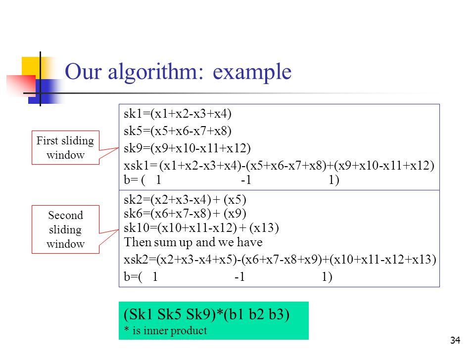 34 Our algorithm: example (Sk1 Sk5 Sk9)*(b1 b2 b3) * is inner product sk2=(x2+x3-x4) + (x5) sk6=(x6+x7-x8) + (x9) sk10=(x10+x11-x12) + (x13) Then sum up and we have xsk2=(x2+x3-x4+x5)-(x6+x7-x8+x9)+(x10+x11-x12+x13) b=( 1 -1 1) sk1=(x1+x2-x3+x4) sk5=(x5+x6-x7+x8) sk9=(x9+x10-x11+x12) xsk1= (x1+x2-x3+x4)-(x5+x6-x7+x8)+(x9+x10-x11+x12) b= ( 1 -1 1) First sliding window Second sliding window