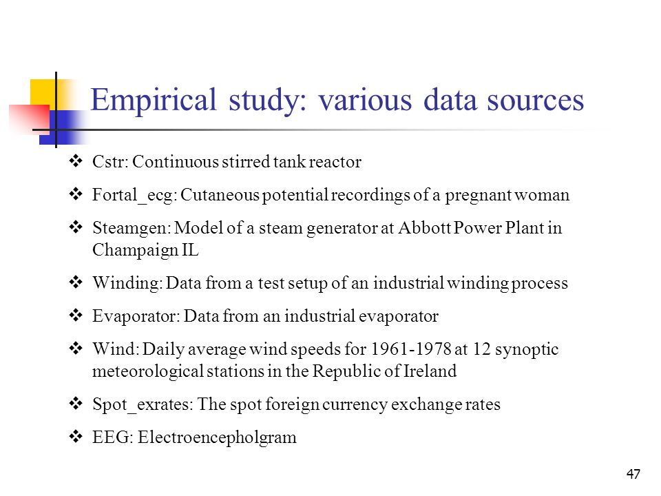 47 Empirical study: various data sources  Cstr: Continuous stirred tank reactor  Fortal_ecg: Cutaneous potential recordings of a pregnant woman  St