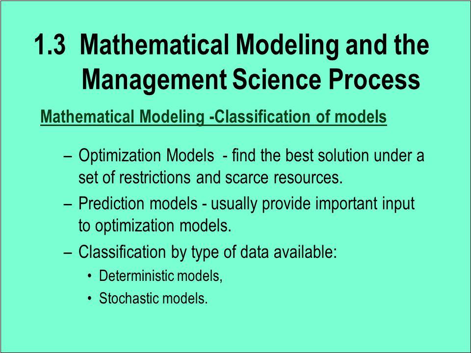 2.4 Solving a Mathematical Model Choose an Appropriate Solution Technique –An optimization algorithm.