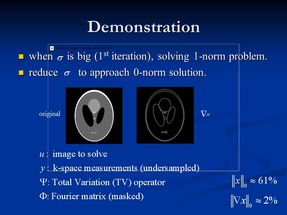 Demonstration when is big (1 st iteration), solving 1-norm problem.