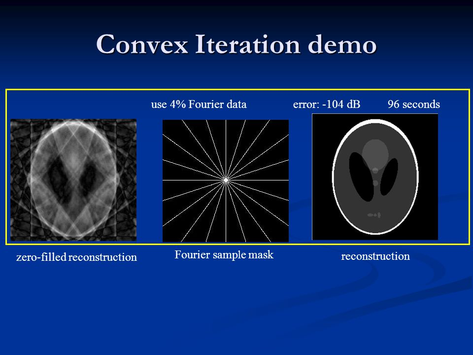 Convex Iteration demo zero-filled reconstruction Fourier samp l e mask use 4% Fourier dataerror: -104 dB96 seconds reconstruction