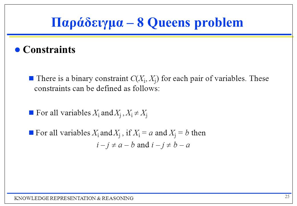 25 KNOWLEDGE REPRESENTATION & REASONING Παράδειγμα – 8 Queens problem Constraints  There is a binary constraint C(X i, X j ) for each pair of variables.