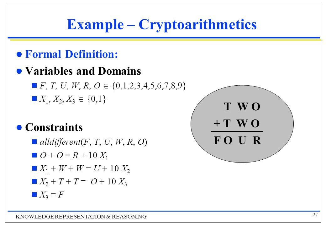 27 KNOWLEDGE REPRESENTATION & REASONING Example – Cryptoarithmetics Formal Definition: Variables and Domains  F, T, U, W, R, O  {0,1,2,3,4,5,6,7,8,9}  X 1, X 2, X 3  {0,1} Constraints  alldifferent(F, T, U, W, R, O)  O + O = R + 10 X 1  X 1 + W + W = U + 10 X 2  X 2 + T + T = O + 10 X 3  X 3 = F T W O + T W O F O U R