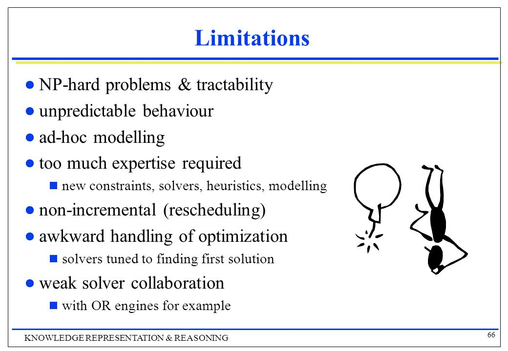 66 KNOWLEDGE REPRESENTATION & REASONING Limitations NP-hard problems & tractability unpredictable behaviour ad-hoc modelling too much expertise required  new constraints, solvers, heuristics, modelling non-incremental (rescheduling) awkward handling of optimization  solvers tuned to finding first solution weak solver collaboration  with OR engines for example