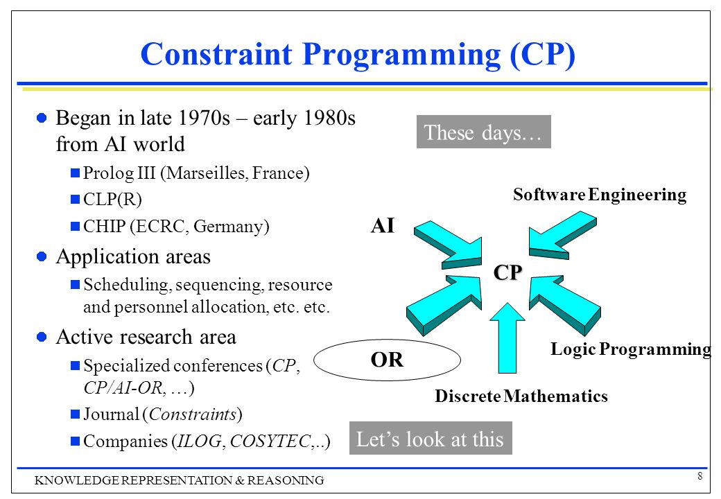 8 KNOWLEDGE REPRESENTATION & REASONING Constraint Programming (CP) Began in late 1970s – early 1980s from AI world  Prolog III (Marseilles, France)  CLP(R)  CHIP (ECRC, Germany) Application areas  Scheduling, sequencing, resource and personnel allocation, etc.